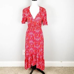 Abel the Label Red Floral High Low Maxi Dress